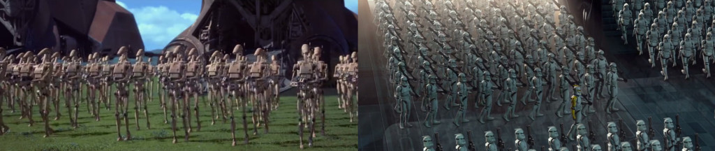 """From L to R: """"The Phantom Menace"""" (1999), """"Attack of the Clones"""" (2002)"""